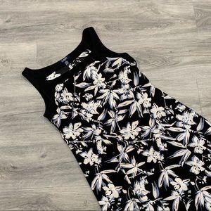 Women's Chaps Summer Floral Black & White Dress